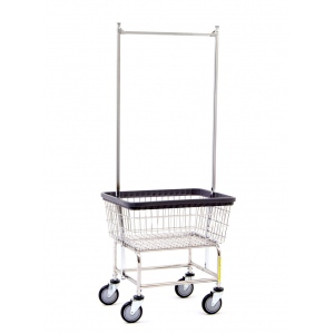 R&B Wire Standard Laundry Cart with Double Pole Rack: Different Colors